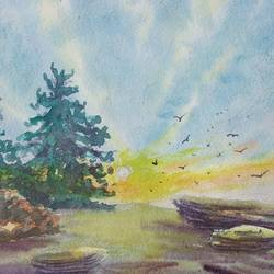 sunrise on hill, 10 x 6 inch, ajay anand,10x6inch,handmade paper,paintings,landscape paintings,conceptual paintings,nature paintings | scenery paintings,paintings for dining room,paintings for living room,paintings for bedroom,paintings for office,paintings for bathroom,paintings for kids room,paintings for hotel,watercolor,GAL01783942529