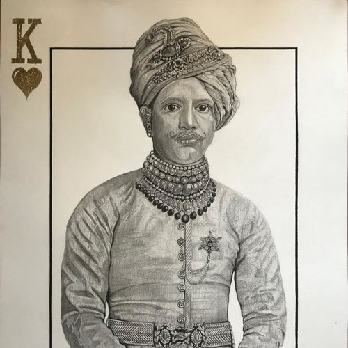 king of hearts, 22 x 30 inch, monica kharkar,22x30inch,canson paper,paintings,figurative paintings,portrait paintings,contemporary paintings,paintings for dining room,paintings for living room,paintings for bedroom,paintings for hotel,charcoal,GAL03030542532