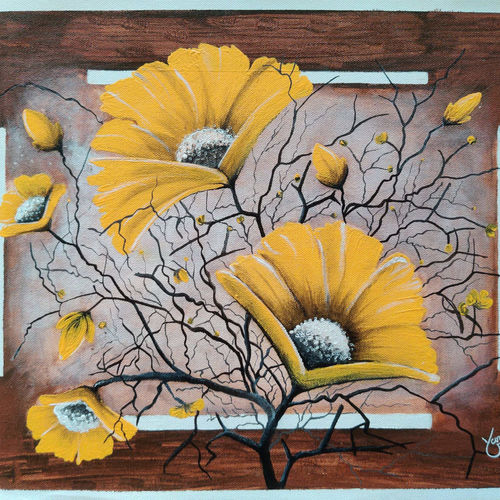 see world with blossom, 16 x 12 inch, yamini sahu,16x12inch,canvas,paintings,flower paintings,nature paintings | scenery paintings,paintings for dining room,paintings for living room,paintings for bedroom,paintings for office,paintings for bathroom,paintings for kids room,paintings for hotel,paintings for kitchen,acrylic color,GAL03036142533