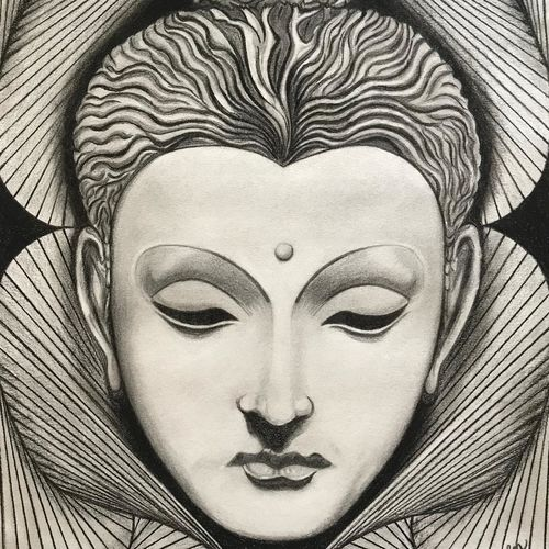 buddha, 11 x 16 inch, monica kharkar,11x16inch,thick paper,paintings for dining room,paintings for living room,paintings for office,paintings for hotel,buddha drawings,paintings for dining room,paintings for living room,paintings for office,paintings for hotel,charcoal,GAL03030542534