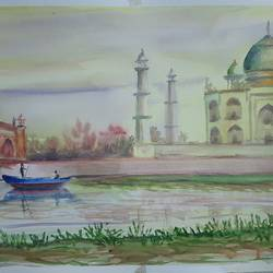 boating at the taj mahal, 17 x 12 inch, anshuman sikka,17x12inch,brustro watercolor paper,paintings,wildlife paintings,flower paintings,landscape paintings,modern art paintings,nature paintings | scenery paintings,art deco paintings,surrealism paintings,realistic paintings,love paintings,water fountain paintings,paintings for dining room,paintings for living room,paintings for bedroom,paintings for bathroom,paintings for kids room,paintings for hotel,paintings for kitchen,paintings for school,paintings for hospital,watercolor,GAL02997242536