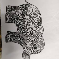 elephant, 9 x 6 inch, nidhi jain,9x6inch,paper,paintings,elephant paintings,pen color,paper,GAL03035242537