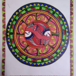 madhubani fish, 11 x 12 inch, nidhi jain,11x12inch,paper,paintings,madhubani paintings | madhubani art,acrylic color,paper,GAL03035242540