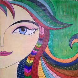 mirror beauty, 11 x 12 inch, nidhi jain,11x12inch,paper,paintings,art deco paintings,acrylic color,paper,GAL03035242542