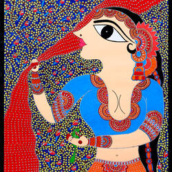 parrot queen, 24 x 18 inch, vijayant singh,24x18inch,handmade paper,madhubani paintings | madhubani art,acrylic color,enamel color,pen color,GAL02908742545