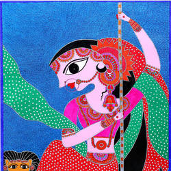 maa durga , 18 x 28 inch, renu singh,18x28inch,handmade paper,paintings,figurative paintings,religious paintings,madhubani paintings | madhubani art,paintings for dining room,paintings for living room,paintings for bedroom,paintings for office,paintings for hotel,paintings for school,paintings for hospital,acrylic color,GAL02908742549