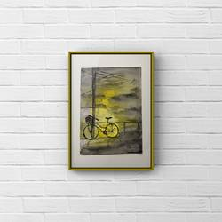 a miniature watercolour painting of cycle in the evening/ dollhouse painting , 4 x 5 inch, deepika gautam,4x5inch,renaissance watercolor paper,abstract paintings,figurative paintings,cityscape paintings,landscape paintings,modern art paintings,still life paintings,nature paintings | scenery paintings,photorealism paintings,realism paintings,contemporary paintings,realistic paintings,miniature painting.,paintings for dining room,paintings for living room,paintings for bedroom,paintings for office,paintings for kids room,paintings for hotel,paintings for kitchen,paintings for school,paintings for hospital,paintings for dining room,paintings for living room,paintings for bedroom,paintings for office,paintings for kids room,paintings for hotel,paintings for kitchen,paintings for school,paintings for hospital,watercolor,paper,GAL02401042554