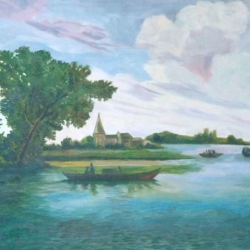scenery, 24 x 12 inch, insiya ghadiyali,landscape paintings,paintings for living room,nature paintings,canvas,oil,24x12inch,GAL015194256Nature,environment,Beauty,scenery,greenery