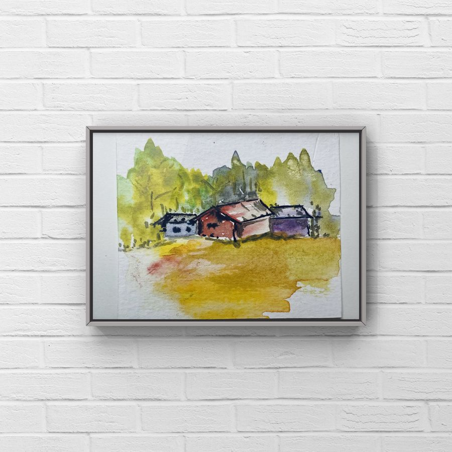 A very tiny miniature painting of countryside watercolour landscape painting dollhouse painting