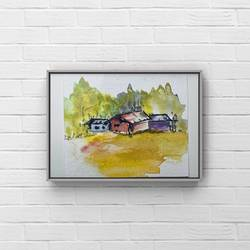 a very tiny miniature painting of countryside/watercolour landscape painting/ dollhouse painting , 4 x 3 inch, deepika gautam,4x3inch,renaissance watercolor paper,paintings,cityscape paintings,landscape paintings,modern art paintings,conceptual paintings,still life paintings,nature paintings | scenery paintings,minimalist paintings,street art,contemporary paintings,children paintings,miniature painting.,paintings for dining room,paintings for living room,paintings for bedroom,paintings for office,paintings for kids room,paintings for hotel,paintings for kitchen,paintings for school,paintings for hospital,watercolor,paper,GAL02401042561
