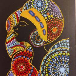 the dot mandala lady, 8 x 12 inch, pankhoori vidya,8x12inch,thick paper,abstract paintings,folk art paintings,modern art paintings,portrait paintings,art deco paintings,paintings for dining room,paintings for living room,paintings for bedroom,paintings for office,paintings for dining room,paintings for living room,paintings for bedroom,paintings for office,acrylic color,pen color,GAL03039342567