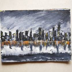 that stormy day, 10 x 15 inch, steve bhosle,10x15inch,paper,abstract paintings,cityscape paintings,landscape paintings,modern art paintings,photorealism paintings,street art,paintings for living room,paintings for office,paintings for hotel,paintings for living room,paintings for office,paintings for hotel,acrylic color,GAL02940042574