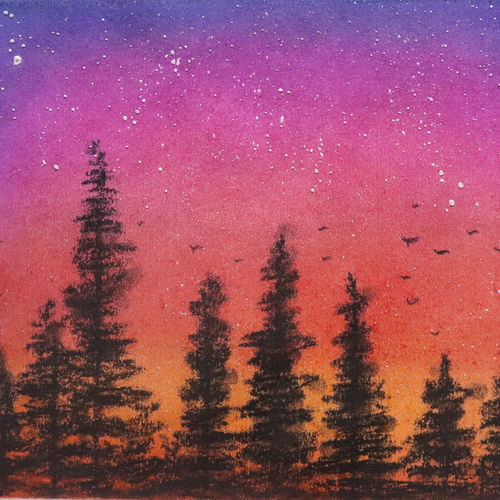 sunset is the start of beautiful night., 11 x 9 inch, vaibhav prabu,11x9inch,renaissance watercolor paper,paintings,landscape paintings,paintings for dining room,paintings for living room,paintings for bedroom,paintings for office,paintings for kids room,paintings for hotel,paintings for kitchen,paintings for school,paintings for hospital,pastel color,GAL03041242581