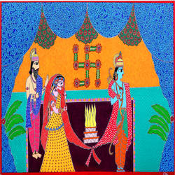 ram sita marriage, 32 x 18 inch, renu singh,32x18inch,canvas,paintings,folk art paintings,religious paintings,madhubani paintings | madhubani art,paintings for dining room,paintings for living room,paintings for bedroom,paintings for office,paintings for hotel,paintings for hospital,paintings for dining room,paintings for living room,paintings for bedroom,paintings for office,paintings for hotel,paintings for hospital,acrylic color,GAL02908742587