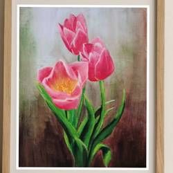 pink tulips, 8 x 10 inch, suma sirisha,8x10inch,canvas,paintings,flower paintings,nature paintings | scenery paintings,photorealism paintings,photorealism,realism paintings,realistic paintings,paintings for dining room,paintings for living room,paintings for bedroom,paintings for bathroom,paintings for kids room,paintings for hotel,paintings for kitchen,paintings for school,paintings for hospital,acrylic color,GAL03021542594