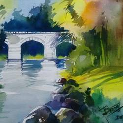river side, 14 x 10 inch, jenwin  baby,landscape paintings,paintings for living room,renaissance watercolor paper,watercolor,14x10inch,GAL0210426