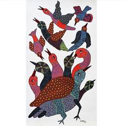 tribal gond art handpainted, 17 x 36 inch, brajbhushan dhurve,folk art paintings,paintings for living room,gond painting.,canvas,acrylic color,17x36inch,GAL010354260