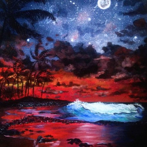 night view at the beach, 16 x 20 inch, mehul boricha,16x20inch,canvas board,paintings,landscape paintings,nature paintings | scenery paintings,paintings for dining room,paintings for living room,paintings for bedroom,paintings for office,paintings for kids room,paintings for hotel,paintings for kitchen,paintings for school,paintings for hospital,acrylic color,GAL02737742615