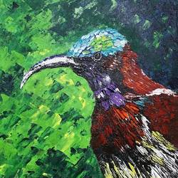 crimson backed sunbird, 10 x 12 inch, swati sharma,10x12inch,canvas,paintings,wildlife paintings,paintings for living room,paintings for living room,acrylic color,GAL03009542652