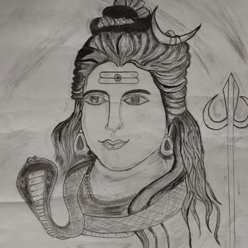 mahadev mahakaal, 12 x 16 inch, dharna ramchandani,12x16inch,ivory sheet,drawings,fine art drawings,portrait drawings,radha krishna drawings,charcoal,graphite pencil,paper,GAL03014442658