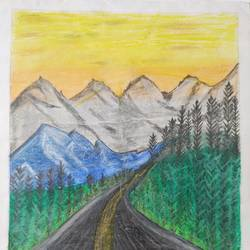 scenery mountains, 12 x 16 inch, dharna ramchandani,12x16inch,ivory sheet,paintings,nature paintings | scenery paintings,paintings for living room,charcoal,pastel color,paper,GAL03014442663