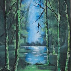 deep in the woods, 12 x 16 inch, preeti raut,12x16inch,canvas,paintings,conceptual paintings,nature paintings | scenery paintings,acrylic color,GAL03044842673
