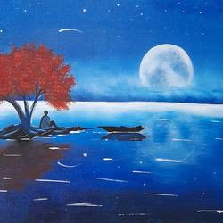 blue night, 12 x 16 inch, preeti raut,12x16inch,canvas,paintings,nature paintings | scenery paintings,acrylic color,GAL03044842675