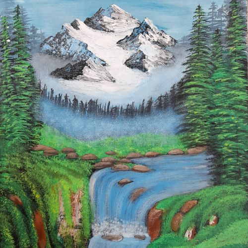 winter glacier.., 16 x 20 inch, preeti raut,16x20inch,canvas,paintings,landscape paintings,paintings for living room,paintings for bedroom,acrylic color,GAL03044842677