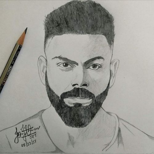 portrait - king kohli, 12 x 8 inch, jerin thomas,12x8inch,drawing paper,drawings,portrait drawings,realism drawings,paintings for living room,paintings for office,paintings for kids room,paintings for hotel,paper,GAL0628542681