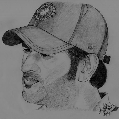 portrait - captain cool, 12 x 8 inch, jerin thomas,12x8inch,drawing paper,drawings,photorealism drawings,portrait drawings,realism drawings,paintings for living room,paintings for bedroom,paintings for office,paintings for hotel,paper,GAL0628542684