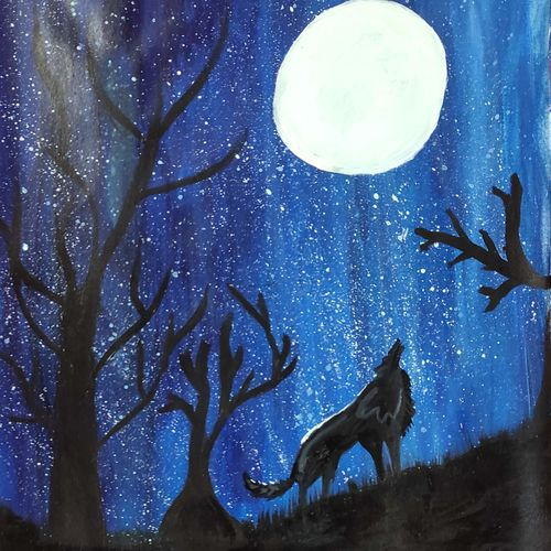 twilight howl , 12 x 17 inch, juhi iyer,12x17inch,thick paper,paintings,wildlife paintings,landscape paintings,still life paintings,nature paintings | scenery paintings,animal paintings,kids paintings,paintings for dining room,paintings for living room,paintings for bedroom,paintings for office,paintings for bathroom,paintings for kids room,paintings for hotel,paintings for kitchen,paintings for school,paintings for hospital,acrylic color,GAL03017542687