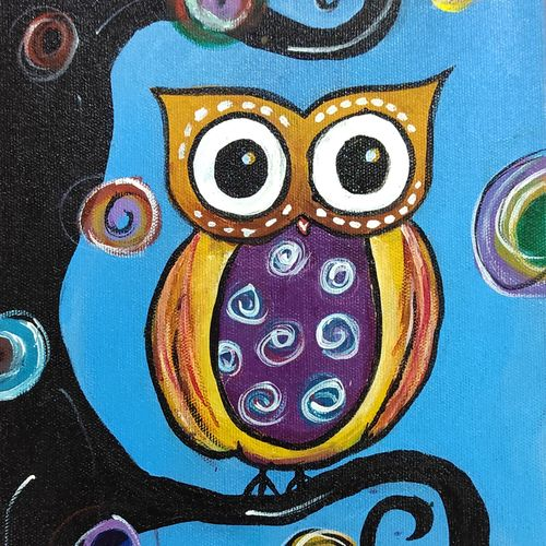 owl sitting on a tree, 8 x 10 inch, juhi iyer,8x10inch,canvas,paintings,wildlife paintings,portrait paintings,nature paintings | scenery paintings,animal paintings,paintings for dining room,paintings for living room,paintings for bedroom,paintings for office,paintings for bathroom,paintings for kids room,paintings for hotel,paintings for kitchen,paintings for school,paintings for hospital,acrylic color,GAL03017542689