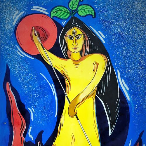 maa durga, 9 x 14 inch, moloy das,9x14inch,paper,paintings,abstract paintings,acrylic color,GAL03049042692