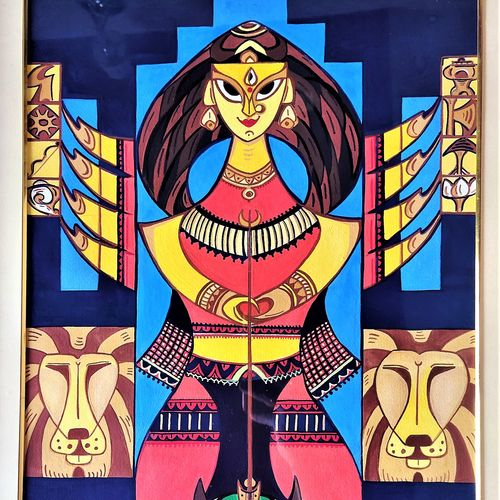 goddess durga : dashabhooja, 17 x 22 inch, moloy das,17x22inch,hardboard,paintings,abstract paintings,folk art paintings,modern art paintings,religious paintings,abstract expressionism paintings,contemporary paintings,madhubani paintings | madhubani art,paintings for dining room,paintings for living room,paintings for bedroom,paintings for office,paintings for hotel,paintings for school,paintings for hospital,acrylic color,paper,GAL03049042698