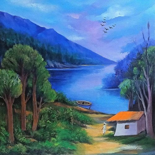 landscape , 20 x 20 inch, a.b.  kaser,20x20inch,canvas,paintings,landscape paintings,nature paintings | scenery paintings,paintings for dining room,paintings for living room,paintings for bedroom,paintings for office,paintings for kids room,paintings for hotel,paintings for school,paintings for hospital,acrylic color,GAL063642702