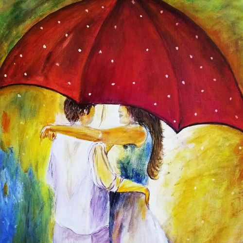 lovely couple on a rainy day, 16 x 20 inch, urvashi verma,16x20inch,canvas,paintings,figurative paintings,modern art paintings,love paintings,paintings for dining room,paintings for living room,paintings for bedroom,paintings for hotel,acrylic color,GAL01503942724