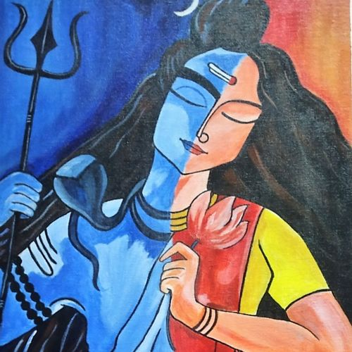 shivshakti, 16 x 24 inch, manjula mair,16x24inch,canvas board,paintings,abstract paintings,religious paintings,portrait paintings,lord shiva paintings,paintings for living room,paintings for office,acrylic color,GAL03022542727