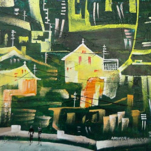 the city20, 16 x 12 inch, kankana  pal,cityscape paintings,paintings for living room,vertical,hardboard,acrylic color,16x12inch,GAL08334273