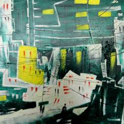the city21, 16 x 12 inch, kankana  pal,cityscape paintings,paintings for living room,square,hardboard,acrylic color,16x12inch,GAL08334274