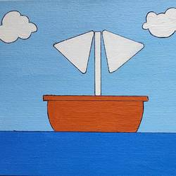 iconic simpson's boat painting, 7 x 9 inch, juhi iyer,7x9inch,canvas,paintings,abstract paintings,wildlife paintings,landscape paintings,still life paintings,nature paintings | scenery paintings,paintings for dining room,paintings for living room,paintings for bedroom,paintings for office,paintings for bathroom,paintings for kids room,paintings for hotel,paintings for kitchen,paintings for school,paintings for hospital,acrylic color,GAL03017542743