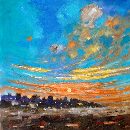 good morning city (landscape), 18 x 18 inch, sandeep rawal ,18x18inch,canvas,paintings,abstract paintings,cityscape paintings,landscape paintings,nature paintings | scenery paintings,contemporary paintings,realistic paintings,paintings for dining room,paintings for living room,paintings for bedroom,paintings for office,paintings for bathroom,paintings for kids room,paintings for hotel,paintings for kitchen,paintings for school,paintings for hospital,acrylic color,GAL0251142748