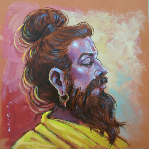 meditative mood of indian sadhu - 1, 10 x 10 inch, sandeep rawal ,10x10inch,thick paper,paintings,religious paintings,portraiture,realistic paintings,lord shiva paintings,paintings for dining room,paintings for living room,paintings for office,paintings for kids room,paintings for hotel,paintings for kitchen,paintings for school,paintings for hospital,acrylic color,GAL0251142762