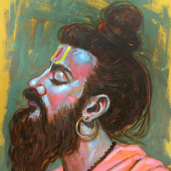 meditative mood of indian sadhu - 2 , 8 x 10 inch, sandeep rawal ,8x10inch,thick paper,paintings,religious paintings,portrait paintings,portraiture,realistic paintings,lord shiva paintings,paintings for dining room,paintings for living room,paintings for office,paintings for kids room,paintings for hotel,paintings for kitchen,paintings for school,paintings for hospital,acrylic color,GAL0251142763
