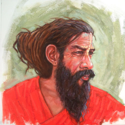 sadhu of the ghats of rishikesh (haridwar ganga ghat), 14 x 14 inch, sandeep rawal ,14x14inch,canvas,paintings,religious paintings,portraiture,realistic paintings,lord shiva paintings,paintings for dining room,paintings for living room,paintings for office,paintings for kids room,paintings for hotel,paintings for kitchen,paintings for school,paintings for hospital,acrylic color,GAL0251142764
