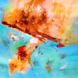 the land under water (abstract) - 1, 24 x 27 inch, sandeep rawal ,24x27inch,canvas,paintings,abstract paintings,paintings for dining room,acrylic color,GAL0251142775