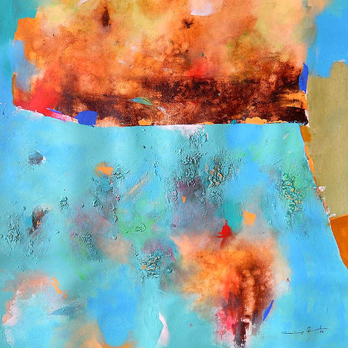 the land under water (abstract) - 2, 24 x 27 inch, sandeep rawal ,24x27inch,canvas,paintings,abstract paintings,paintings for dining room,acrylic color,GAL0251142776