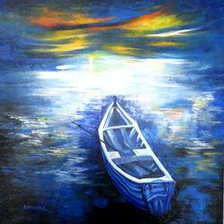 the lonely boat, 20 x 24 inch, kankana  pal,landscape paintings,paintings for living room,paintings for office,vertical,canvas,acrylic color,20x24inch,GAL08334278