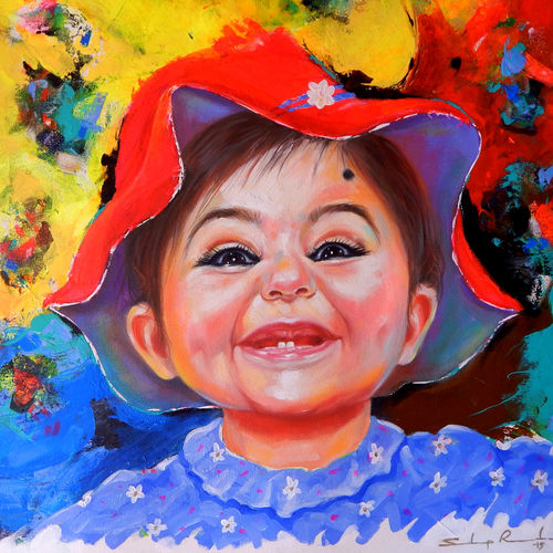 laughing out loud (laughing baby) , 24 x 24 inch, sandeep rawal ,24x24inch,canvas,paintings,portrait paintings,portraiture,realistic paintings,baby paintings,children paintings,kids paintings,paintings for kids room,paintings for school,acrylic color,GAL0251142792