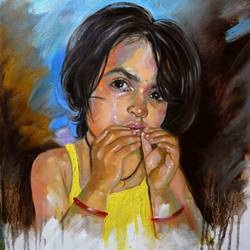 innocent baby girl lucky, 22 x 24 inch, sandeep rawal ,22x24inch,canvas,paintings,portrait paintings,portraiture,realistic paintings,baby paintings,children paintings,kids paintings,paintings for kids room,acrylic color,GAL0251142793