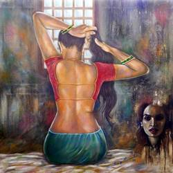 backless indian black beautiful woman , 35 x 35 inch, sandeep rawal ,35x35inch,canvas,paintings,figurative paintings,portrait paintings,contemporary paintings,realistic paintings,paintings for bedroom,paintings for hotel,acrylic color,GAL0251142797